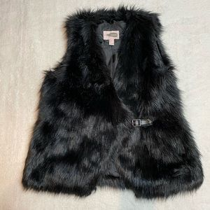 Forever 21 Contemporary Faux Fur Black Vest